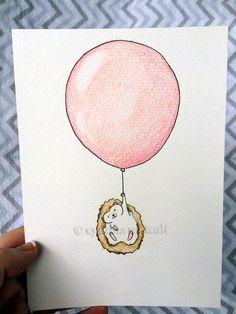 Ballon hérisson pépinière Art, Original dessin, choisissez couleur, decoration murale pour enfants, pépinières forestières, Decor nouveau-né, rose, Baby Girl                                                                                                                                                                                 Plus