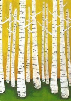 Large Birch Tree Forest Archival Print in Yellow. $34.00, via Etsy.