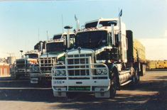 Great Line up of classics resting at Bunker Hill Hume HWY Northbound in 1986 Kenworth Trucks, Mack Trucks, Semi Trucks, Old Trucks, Pickup Trucks, Train Truck, Road Train, Secret Squirrel, Bunker Hill
