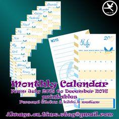 Refill: calendario mensile datato da Luglio 2015 a Dicembre 2016. File digitale formato PDF di AlwaysOnTimeEtsy su Etsy
