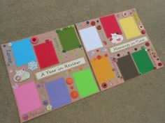 2-12x12 Year Month Calendar Premade Scrapbook Pages Tear Bear Paper Piecing IOPG
