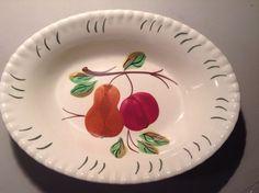 Blue Ridge Serving Bowl Pear Plum Pie Crust Edge Vintage Dinnerware #BlueRidge