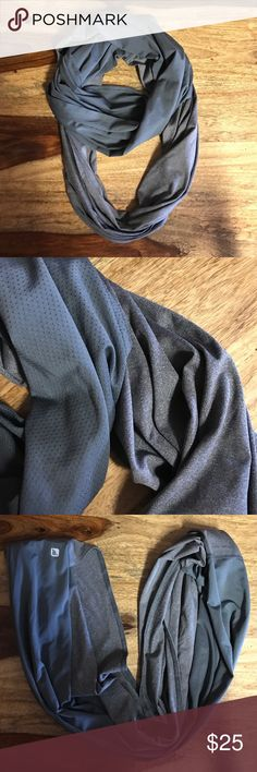 fabletics grey Infinity Scarf NWOT Never worn, grey super soft material, mesh to cool ya down if cold outside, last picture is jus for reference, scarf for sale is Grey *no trades* NWOT Fabletics Accessories Scarves & Wraps