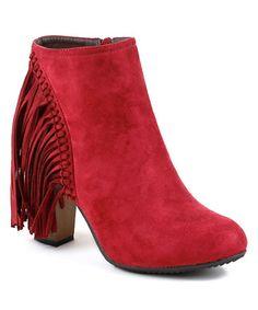 Look what I found on #zulily! Red Fringe Roda Ankle Bootie #zulilyfinds $19.79