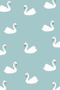 white swan pattern fabric