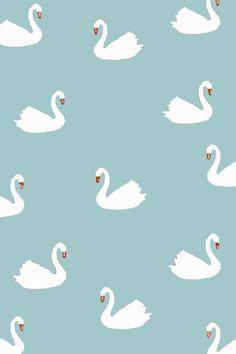 white swan pattern fabric