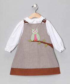 # zulily, # FallTake a look at this White Blouse & Oatmeal Gingham Jumper - Infant & Toddler by Petit Ami on #zulily today!