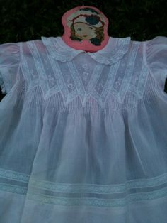 b277be6bd36c Vintage Antique Baby Girls' Feltman Brothers Smocked Pink Lace Dress 3M 6M  9M, image #2