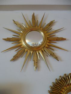 Vintage Mirror French 1960's Sunburst Starburst. Above the bed.
