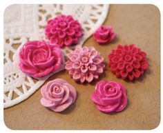 pink floral buttons