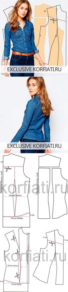 Выкройка приталенной рубашки от Анастасии Корфиати: