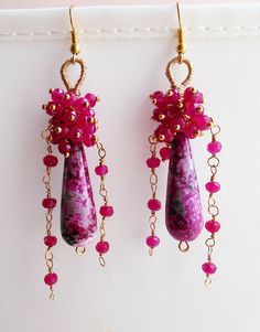Emmanuele earrings gemstone cluster earrings fuchsia