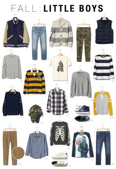 Fall Capsule Wardrobes for Toddlers and Kids 2016 Boys Capsule Boys Fall Fashion, Toddler Boy Fashion, Little Boy Fashion, Toddler Boy Outfits, Kids Outfits, Toddler Boys, Baby Outfits, Toddler Chores, Baby Dresses