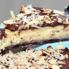 Taking its cues from the classic candy bar, this cheesecake recipe has cream of coconut added to the cream cheese filling and it& completed with a chocolate-cream of coconut topping and sliced almonds. Cheesecake Desserts, Just Desserts, Delicious Desserts, Dessert Recipes, Almond Joy Cheesecake Recipe, Almond Joy Pie, Homemade Cheesecake, Dessert Food, Mini Cakes