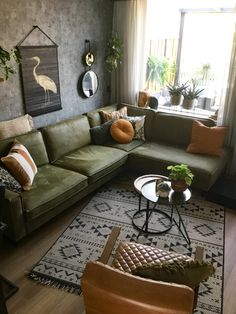 Top 5 Inside View Awards 2019 categorie woonkamer - Lilly is Love Olive Living Rooms, Living Room Green, Boho Living Room, Small Living Rooms, Living Room Modern, Living Room Sofa, Living Room Interior, Home Decor Bedroom, Home And Living