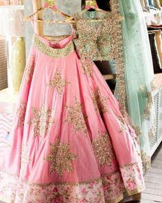 Anushree reddy pink and green star lehenga choli