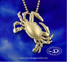 Beautifully Crafted 14 Kt. Gold Crab Pendent