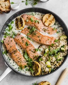 PAN SEARED SALMON WITH LEMON PARMESAN CREAM SAUCE Quick And Easy Appetizers, Quick Easy Meals, Lemon Recipes, Healthy Recipes, Parmesan Sauce, Pan Seared Salmon, Well Seasoned, Creamy Sauce, Weeknight Meals