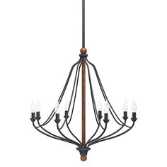 Over the table? Shop Kichler Lighting Carlotta 8-Light Distressed Black and Wood Chandelier at Lowes.com