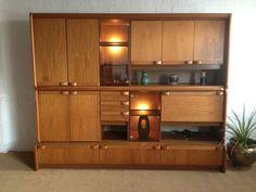 Mid Century Modern Danish Wall Unit Bookcase, bar Cabinet Van Pelt   $1600