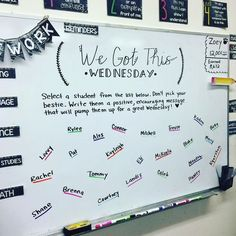 "What a great way to build camaraderie! ""#wegotthiswednesday #miss5thswhiteboard #teachersofinstagram #teachersoftpt #iteachfifth #teachergram #teachersfollowteachers #classroomcommunity…"