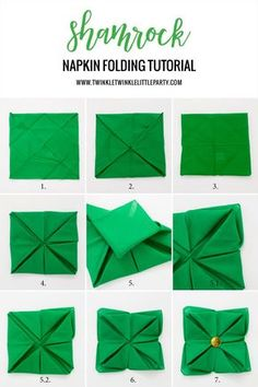 Shamrock napkin folding tutorial for Saint Patrick's Day Set up an Easy Tablescape for Saint Patrick's Day Dinner. Make it festive by turning fabric napkin into a 4 leaf clover shamrock. St Pattys, St Patricks Day, Saint Patricks, Homemade Face Paints, St Patrick's Day Decorations, St Paddys Day, Napkin Folding, Origami Tutorial, Luck Of The Irish