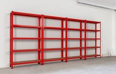 4 Units Of Garage Shelving In Red. 1800mm X 900mm X 400mm Each Shelving Unit