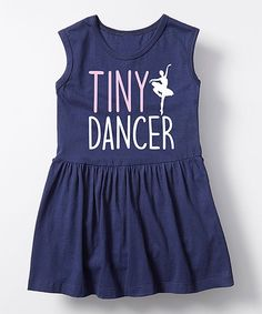Instant Message Navy Tiny Dancer Sleeveless Dress - Toddler | zulily