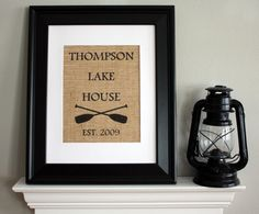 Lake House Burlap Print, Housewarming Gift with Family Name and Year Established on Burlap - Personalized
