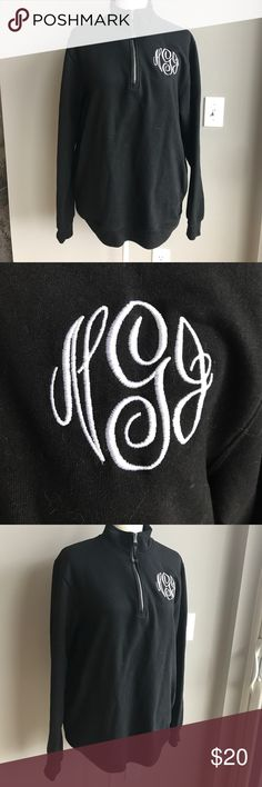 Cozy monogrammed sweatshirt! In great condition! Letters are NJG. Small fits more like a large. Make me an offer. No trades. Has pockets. Smoke free home. ❤️😄 charles river Sweaters