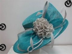 Ladies Teal and Grey Wide Brim Hat,Races,Formals,Weddings,Dressage,Hat Making