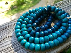 10mm Round Bone Beads, Handcrafted Caribbean Turquoise Blue Color, Native Boho…