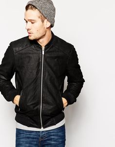 Solid+Leather+Bomber+Jacket
