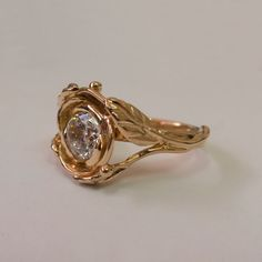 Rose Engagement Ring No. 6  Rose Gold and Moissanite by doronmerav