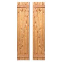Design Craft MIllworks 15 in. x 52 in. Board-N-Batten Baton Z Shutters Pair Natural Cedar-420127 - The Home Depot