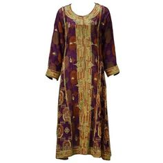 Preowned 1970's Indian Multi Color Embroidered Caftan Ensemble ($750) ❤ liked on Polyvore featuring tops, tunics, multiple, brown tops, base layer top, layered tops, silk kaftan and indian tunic
