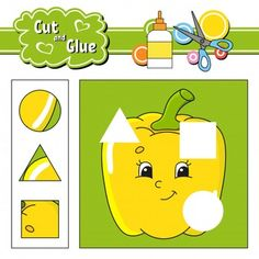 Cut and glue logical game for children. Science For Kids, Games For Kids, Cartoon Present, Bird Template, Color Puzzle, Shapes Worksheets, Paper Games, Learning Numbers, Color Activities