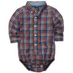 Button-Front Poplin Plaid Bodysuit | Baby Boy New Arrivals Size: 9M