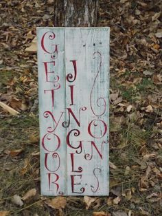 """""""Get your Jingle On"""" Reclaimed pallet wood sign. Wood Pallet Signs, Wood Pallets, Wood Signs, Winter Wood Crafts, Christmas, Home Decor, Wooden Pallets, Yule, Homemade Home Decor"""