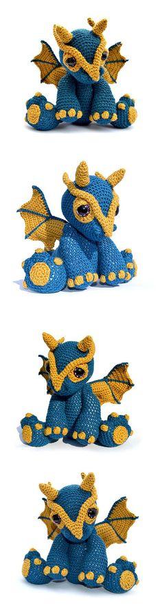 Found at Amigurumipatterns.net  http://www.amigurumipatterns.net/shop/Patchwork-Moose/Clancy-the-dragon/