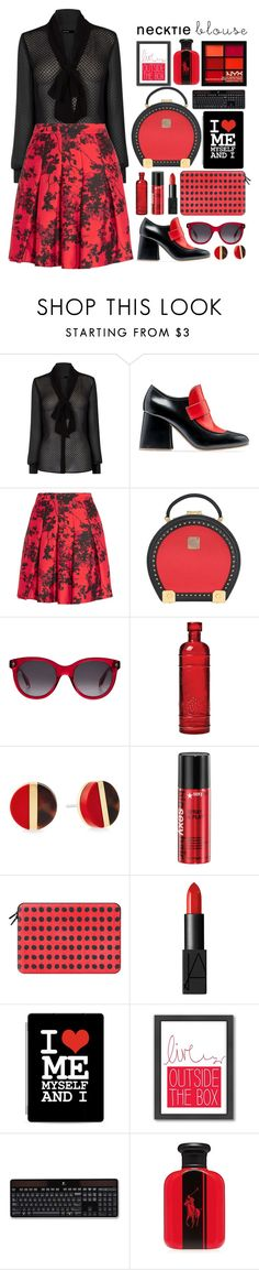 """""""#045 : nectktie blouses"""" by selenawil ❤ liked on Polyvore featuring Karen Millen, Marni, Diane Von Furstenberg, MCM, Alexander McQueen, Cultural Intrigue, Michael Kors, Casetify, NARS Cosmetics and Americanflat"""