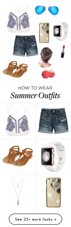"""Beach outfit"" by iphonealyssa on Polyvore featuring Ray-Ban, Topshop, River Island, Canvas by Lands' End, Skinnydip, MAC Cosmetics and Eos"