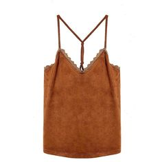 Yoins Tan Suedette Petal Trim Cami Top ($16) ❤ liked on Polyvore featuring tops, denim tank top, brown camisole, brown tank top, summer tanks and camisole tops
