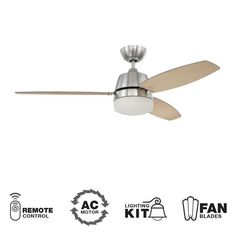 """View the Ellington Fans Beltre Modern 52"""" 3 Blade (Included) Indoor Ceiling Fan with Reversible Motor, Remote, and Light Kit at LightingDirect.com. $189"""
