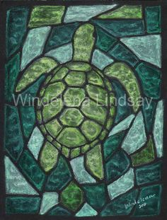 Stained Glass Turtle Oil pastels on Etsy, $35.00 | Stained glas
