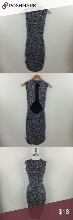Open back melange dress Open back lace up mock neck melange dress Content :54% polyester 44% rayon 2% spandex Dresses Midi