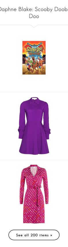 """""""Daphne Blake: Scooby Dooby Doo"""" by styleskater7 ❤ liked on Polyvore featuring dresses, purple, vestidos, outerwear, stella mccartney dresses, purple skater skirt, purple dresses, circle skirt, flared skirt and accessories"""