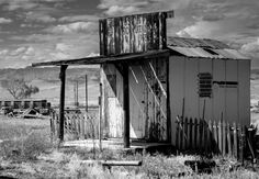 Tiny Post Office, Utah - Black and White Print in Cisco, Utah Ghost Town - by Lost Kat Photography