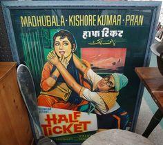 Vintage framed Bollywood movie poster.
