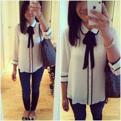 Forever 21 tie front blouse paired with Banana Republic skinny jeans, Bruno Magli flats, Hermes Clic H bangle, gifted 3 strand bracelet, Tiffany& Co. jewelry, Louis Vuitton Neverfull bag.